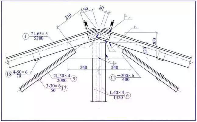 钢结构屋脊节点图